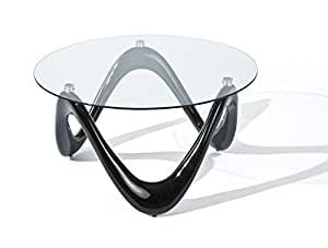 Links 20801370 Valentine Table Basse Fibre de Verre Noir 80 x 80 x 42,5 cm