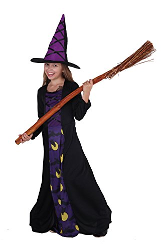 Für Kleine Kostüm Mädchen Gruselige - Magicoo Eulenhexe - Hexenkostüm Kinder lila-schwarz - Hexenkostüm Kind Mädchen mit Hut und Hexenkleid.(110/116)