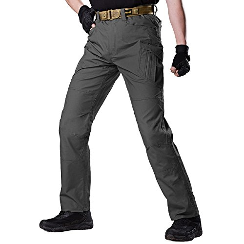 FREE SOLDIER Herren Hose Taktische Verschleißfestigkeit Wasserabweisend Trekking Hose mit Multi-Taschen (Grau, 34
