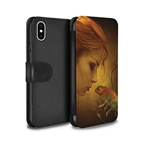 Offiziell Elena Dudina PU-Leder Hülle/Case/Tasche/Cover für Apple iPhone X/10 / Pack 5pcs Muster / Drachen Reptil Kollektion Cameleon