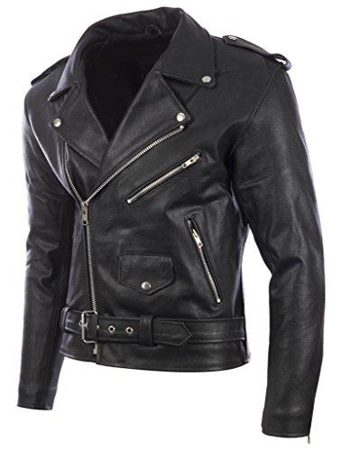 Veste de motard pour homme avec ceinture en peau de vache véritable ou cuir de mouton super-doux par MDK Peau de vache noire
