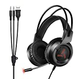 Pecosso Gaming Headset,Gaming Kopfhörer PS4 LED-Beleuchtung 3,5 mm Stereo Surrounding Bequeme Über-Ohr-Musik Gaming Headphone mit Mikrofon für PS4 Nintendo 3DS Xbox EIN PC Laptop Mac