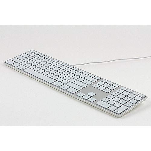 Matias FK318LS-DE Aluminum Wired Tastatur mit RGB-Hintergrundbeleuchtung USB Keyboard für Apple Mac OS | QWERTZ | Deutsch | mit flachen Tasten und zusätzlichem Ziffernblock - Silber-Weiss - Apple Wired Keyboard