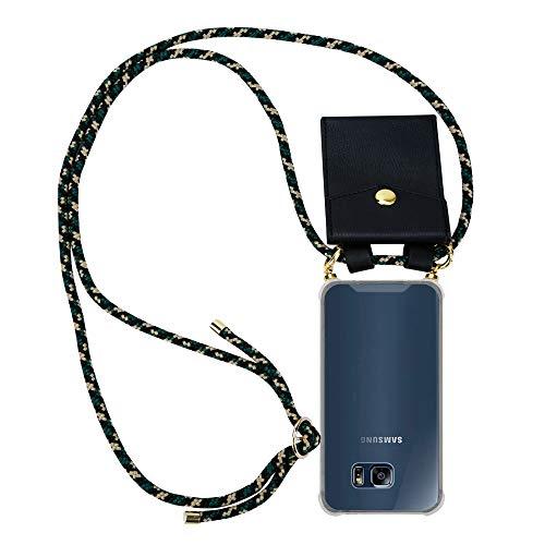 Cadorabo Handy Kette für Samsung Galaxy S6 Edge in Camouflage - Silikon Necklace Umhänge Hülle mit Gold Ringen, Kordel Band Schnur und abnehmbarem Etui - Schutzhülle