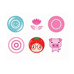 Minstar PEA-BUTTON-1 Smiley Cute iPhone Home Button Sticker - 6 Pack