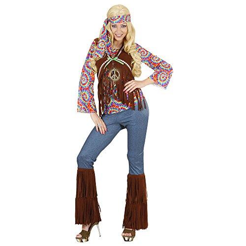 Widmann 7543S - Erwachsenenkostüm Psychedelic Hippie Frau, Shirt mit Weste, Hose, Stirnband und Kette, Größe XL