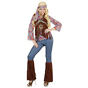 WIDMANN 7543S - Adult Costume psicodélico del Hippie Mujer, camisa chaleco, pantalones, diadema y collar