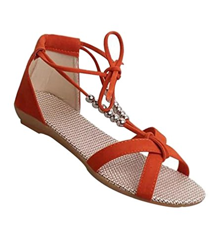 YOUJIA Femmes Lacets Peep Toe Romain Sandales Tongs Chaussures de plage #2 Orange