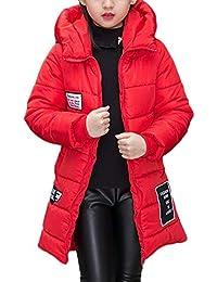 645055080 Abrigo De Niña Chaqueta Caliente con Capucha Acolchado Manga Larga Parka  Rojo 140CM