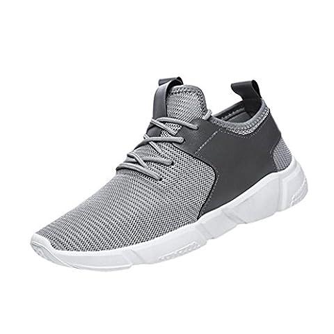 HCFKJ Fashion Men'S Straps Sport Running Baskets Casual Chaussures Solides (43, gris)