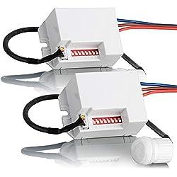 sebson 2X Mini Détecteur de Mouvement intérieur, encastré, Montage au Plafond, programmable, capteur Infrarouge, portée 6m/360°, LED adapté