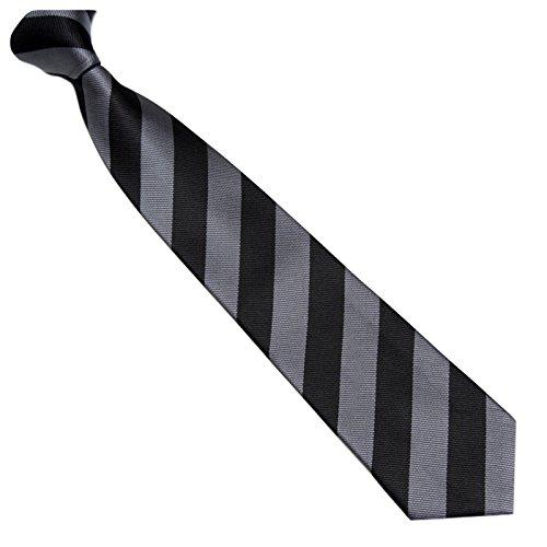 Schmale Krawatte 7cm Streifen College Design Schwarz Grau gestreift - Binder Gewebte Microfaser Seiden-Optik - Herrenkrawatte z Anzug - Herren Schlips (Seide Krawatte Cambridge Gewebte)