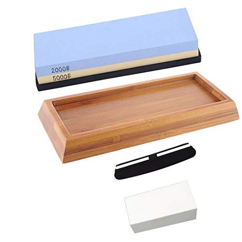 HUOXU Premium Schleifstein Schärfstein 2 Seitenkorn 2000/5000 Waterstone | Bester Schleifstein-Anspitzer