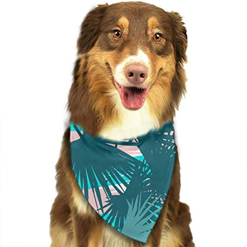 Rghkjlp Leaves Palm Repeating Floral Pet Bandana Triangle Dog Cat Neckerchief Bibs Scarfs Accessories for Pet Cats and Baby ()