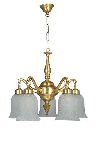 Fos Lighting Classic Down Facing 5 Light Brass Chandelier
