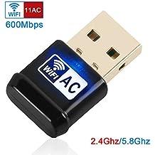 Jirvyuk WiFi USB Adaptador Antena Largo Alcance Adaptador Inalámbrico USB Mini Receptor WIFI Dongle para Windows XP/Vista/7/8/8.1/10 MAC OS Linux (Negro-02)