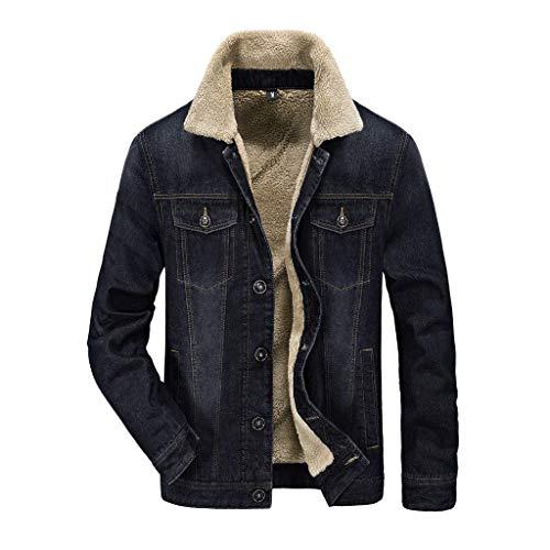 KPILP Herren Winter Denim Jacket Jeansjacke Gefütterte Jacke Mantel Fellfutter verdickt Regular Fit Casual Winter Herbst Freizeitjacke Blazer