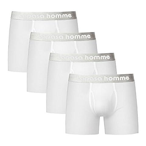 Lapasa Homme Lot de 4 Boxers en Coton à fibres extra longues Poche à ouverture (XL, Blanc)