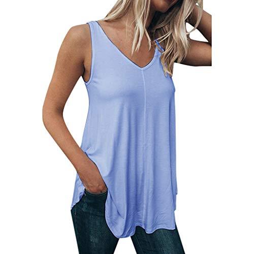 Oksea Damen Longtop Sommer Cool Lässiges ärmelloses Chiffon Tank Top mit Spitze Lässiges einfarbiges Top Damen Ärmelloses festes V-Ausschnitt Bluse Shirt Pullover Tops - Glamour Sexy Beine