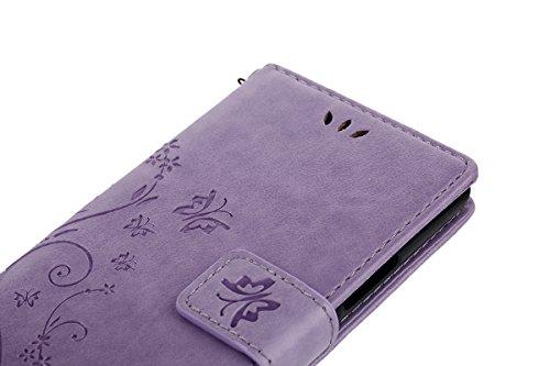 Huawei P9 Lite, P9 Huawei Lite, ikasus, motivo: floreale con farfalle, con aletta, in pelle sintetica in PU a portafoglio-Custodia a portafoglio in pelle con funzione di supporto e porta carte di cred Piccola Farfalla:Viola chiaro