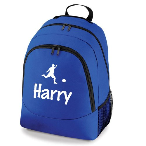 iClobber Football Backpack Personalised Boys Girls School Bag Gym Swim Kit Bag Rucksack - Royal Blue