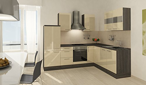 respekta Premium L Kitchen Unit 260 x 200 CM Grey Oak-Apl Ceran HG ...