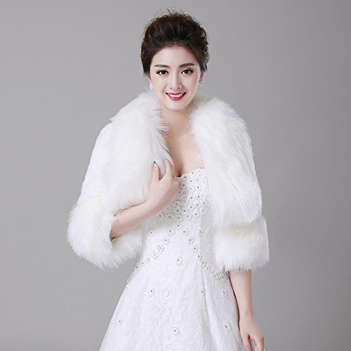 Wraps Wedding / Coprispalle in pelliccia / Cappotti in pelliccia - Maniche 3/4 - di Pelliccia ecologica - Avorio