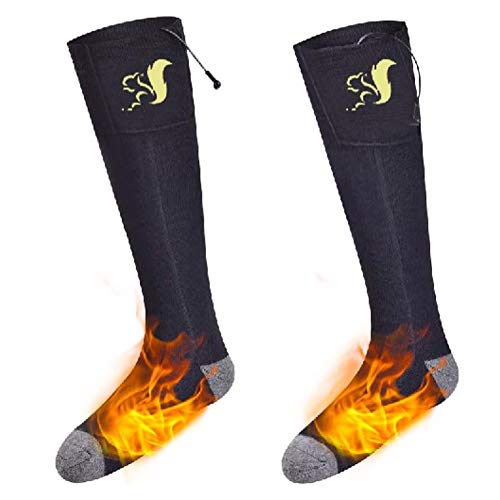 Xwly-hs Unisex Battery Electric Heated Socks Kit, Thick Knitting Thermal Sox Care Chronically Cold Feet, Winter Warm Cotton Crew Socks for Outdoor Hunting Motorcycling -