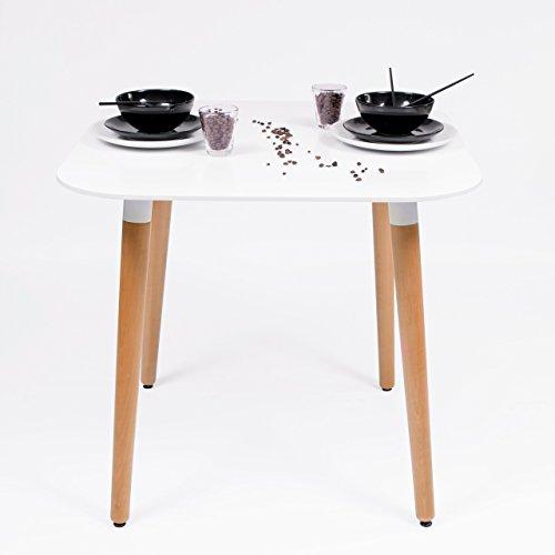Homely - Mesa de comedor Nordik, tapa lacada y patas de madera - 80x80 cm.
