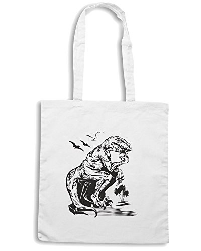 T-Shirtshock - Borsa Shopping FUN0052 03 15 2012 Velociraptor Philosopher det Bianco