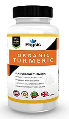Physis Organic Turmeric Capsules | High Strength 600mg | Anti-Inflammatory Agent | Relieves Joint Pain And Swelling | Increases Range Of Motion In Joints | Aids With Digestion Of Fats | Reduces Gas And Bloating |Improves Skin Conditions | Supports Liver F