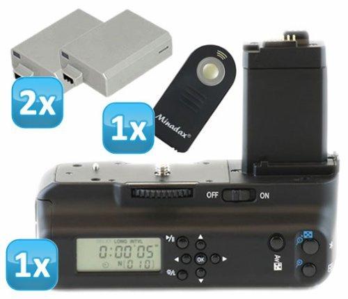 Impulsfoto - Impugnatura portabatteria professionale con timer LCD e comando a infrarossi, per Canon EOS 1000D, 500D, 450D, equivalente a BG-E5, con 2 repliche di batteria LP-E5