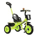 SSLC Kinderdreirad,Baby Dreirad Fahrrad 3 Räder Elternlenkung für Schubstange Flüsterleise Gummireifen Belastbarkeit bis 30 kg (Junge/Mädchen, 1-3-5 Jahre alt), Green