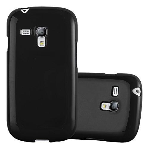 Cadorabo Custodia per Samsung Galaxy S3 Mini in Jelly Nero - Morbida Cover Protettiva Sottile di Silicone TPU con Bordo Protezione - Ultra Slim Case Antiurto Gel Back Bumper Guscio