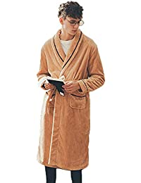 aa460ba86a Luxury Pajamas Plus-size Bathrobe Mens Dressing Gown Warm Housecoat For  Home Outdoor (Color   Khaki