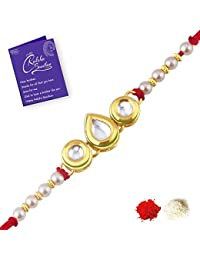 Sukkhi Astonish Gold Plated Kundan Rakhi for Brother with Roli Chawal and Raksha Bandhan Greeting Card for Men