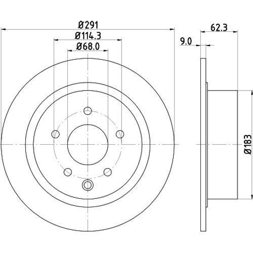 HELLA PAGID 8DD 355 122-421 Bremsscheibe PRO, Hinterachse, Oberfläche beschichtet, Set aus 2 Bremsscheiben