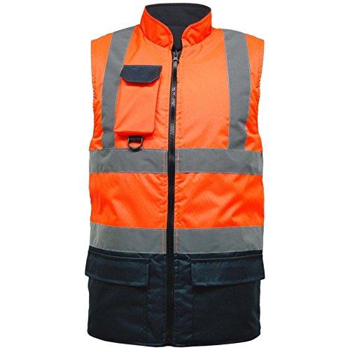 MyShoeStore Gilet ad alta visibilità, foderato in pile, reversibile, rifrangente, impermeabile, imbottito, mantiene al caldo, ideale come abbigliamento da lavoro, taglie S-XL Orange/Navy XL