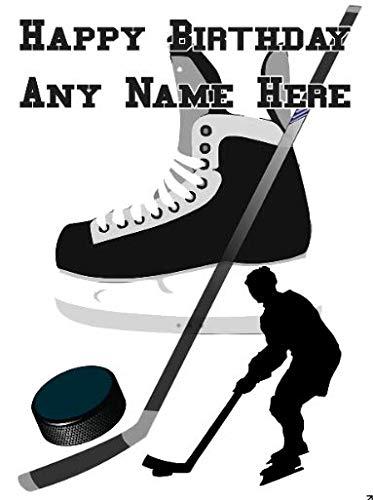 fht32 Ice Hockey Happy Birthday A5 Personalisierte Grußkarte von US Gifts for All 2016 von Derbyshire UK
