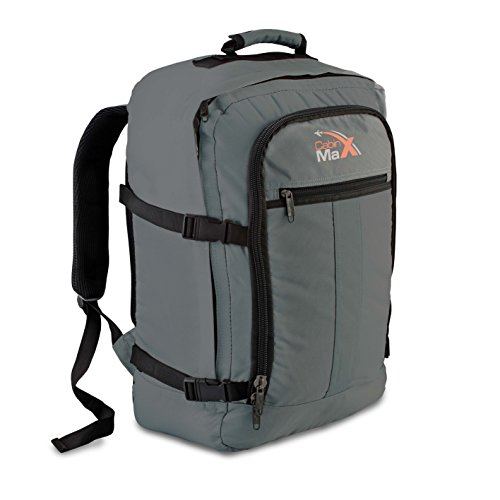 Cabin Max Backpack Flight Approved Carry On Bag Massive 44 litre Travel Hand Luggage 55x40x20 cm (Grey/Black)