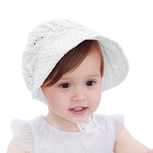 HBselect Sonnenhut unisex aus Baumwolle mit atmungsaktivem Design und süßem Stil Beanie Hut für Baby Mädchen Kleinkind (Weiß)