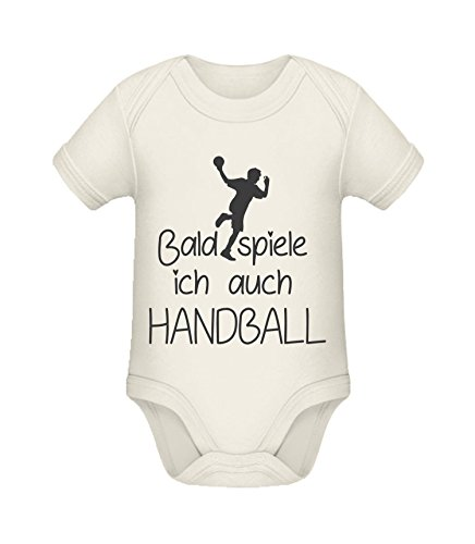 Babybody mit Aufdruck | Bald spiele ich auch Handball | Strampler Babybody von Shirtinator® Organic Natural 3-6 mths (Kleidung Mth)