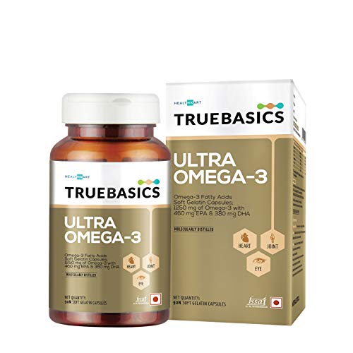 TrueBasics Triple Strength Ultra Omega-3 Fatty Acids With 1250mg Fish oil (EPA 460 mg, DHA 380 mg) - 90 Enteric Coated Softgels