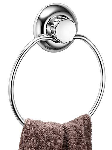 MaxHold Saugschraube Runder Handtuchring, Befestigen ohne Bohren - Edelstahl rostfrei - Küchen & Badezimmer Aufbewahrung