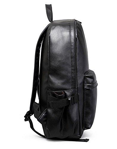 Mode PU Leder Damen Tasche Schultasche Rucksack für Campus Daypack Schulranzen Mädchen Schwarz