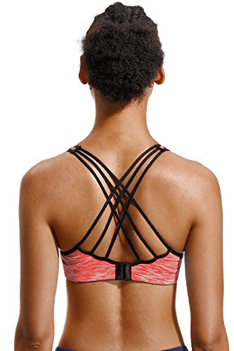 V FOR CITY Damen Crisscross Back Sport BH Abnehmbare gepolsterte Workout Top Light Support Yoga BH, Damen, Orange, X-Large - 5