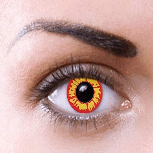 Von Sauron Kostüm Auge - PHANTASY Eyes® Farbige Kontaktlinsen, Ohne Stärke Rot gelb (ZOMBIE) Cosplay perfekt zum Halloween und Karneval, Jahres Linsen, 1 Paar crazy fun Contact linsen + Kontaktlinsenbelälter!