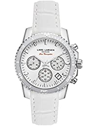 Lars Larsen Mar Navigator Reloj de cuarzo para mujer con blanco esfera analógica pantalla y correa de piel color blanco 134swwwl