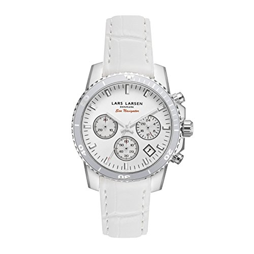 Lars Larsen Sea Navigator Women's Quartz Watch with White Dial Analogue Display and White Leather Strap 134SWWWL