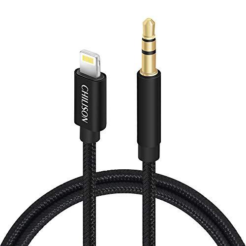 Chilison Cable Audio para Iphone Auxiliar Estéreo de 3,5 mm, 91cm adaptador Audio Nylon Durable Trenzado para iPhone 8/X, iPod, Compatible con iOS 11.12 o posteriores, Auricular, Hi-Fi, Altavoz- Negro